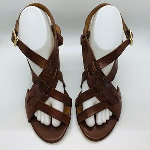 Franco Sarto brown leather sandal, block heel, 9